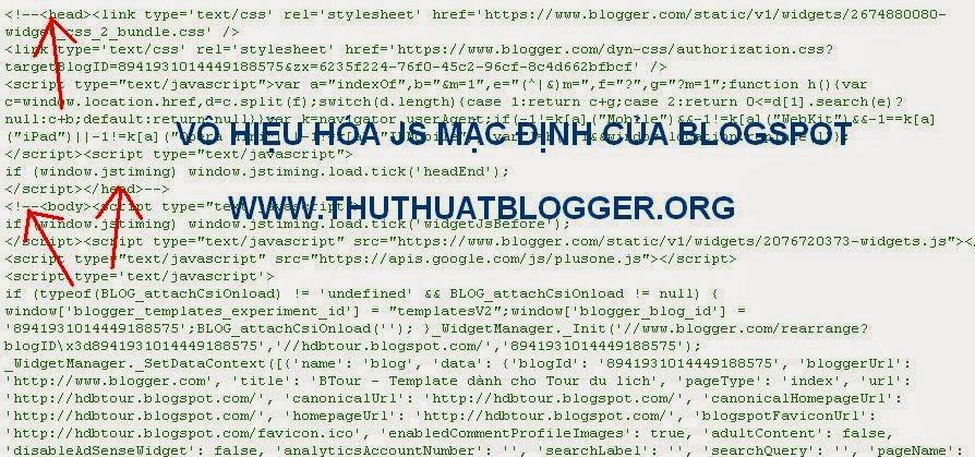 Hướng dẫn vô hiệu hóa js mặc định của blogspot