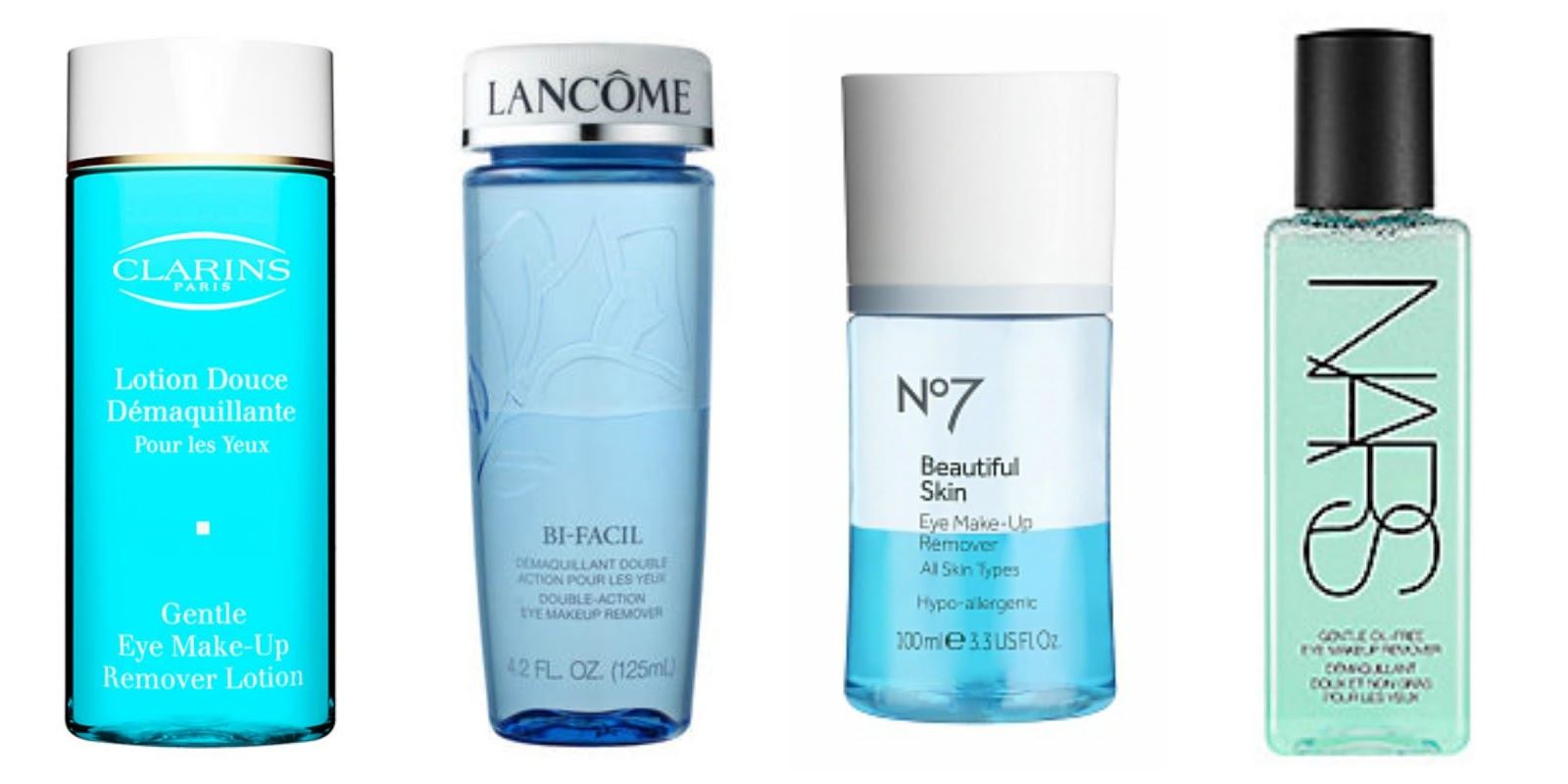 Eye Make Up Removers: Clarins, Lancome, No.7, Nars