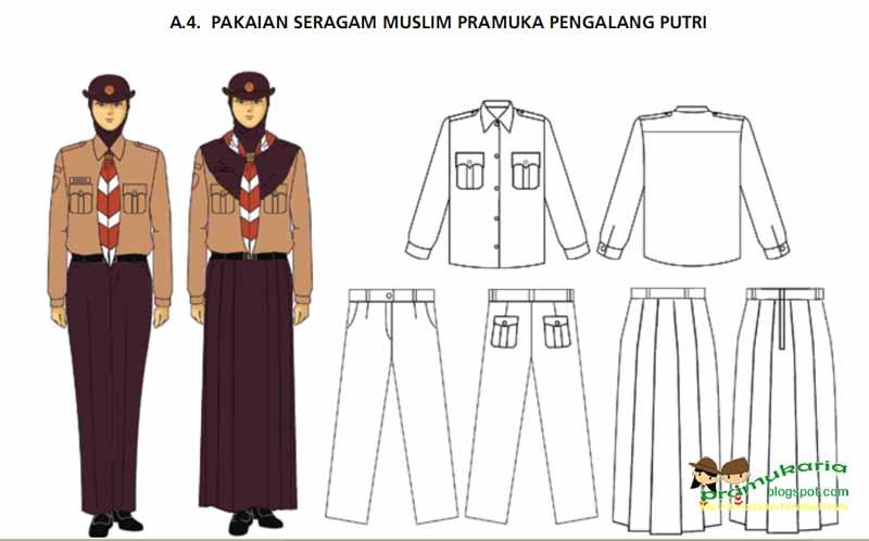 Gambar atau model Pakaian Seragam Muslim Penggalang Putri (Klik untuk