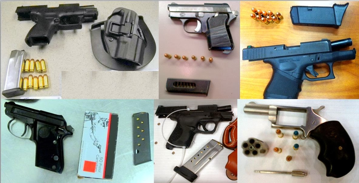 Left - Right / Top to Bottom: Guns Discovered at ELP, BNA, ATL, OMA, CMH, ATL