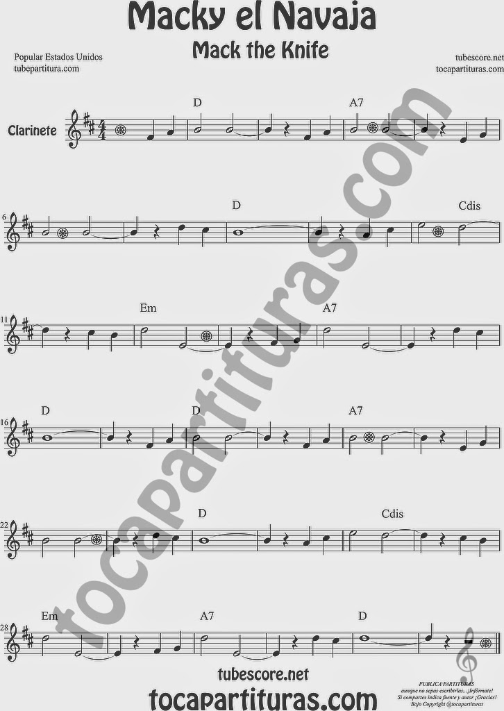 Macky el Navaja Partitura de Clarinete Sheet Music for Clarinet Music Score Mack the Knife de Kurt Weill
