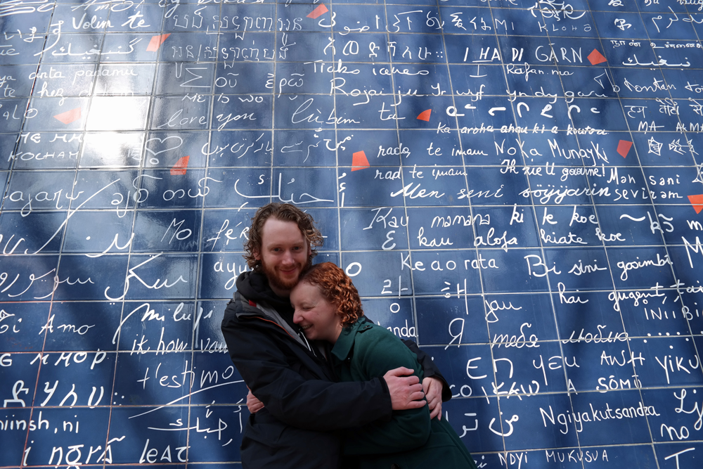 Steve and Sarah at the Love Wall in Paris