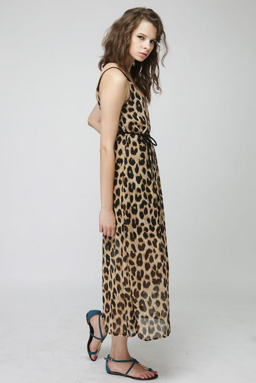 BeauBo Leopard Braided Strap Maxi Dress