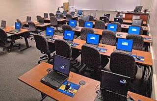 A classroom with laptops.