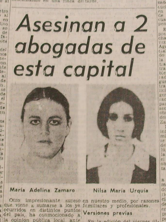 Marta Zamaro y Nilsa Urquía, asesinadas.