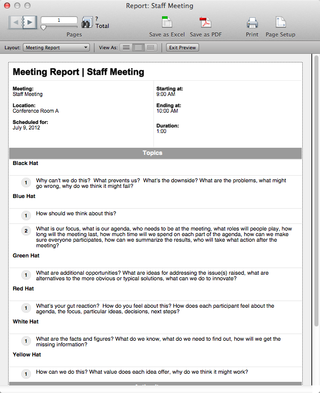 meeting reports template