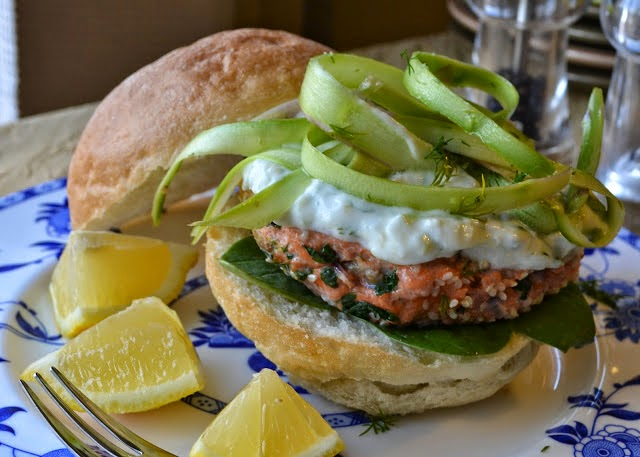 Sesame Seed Encrusted Salmon Burger with Lemon Tzatziki and Asparagus ...