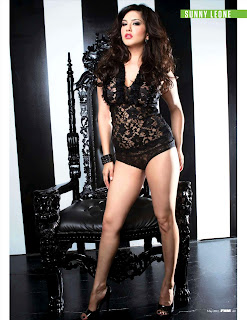 Sunny Leone in FHM India May 2012- Black lingerie