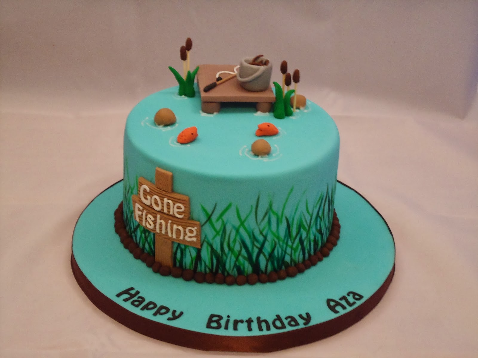 The lavender cakes fishing cake for Fishing themed cakes