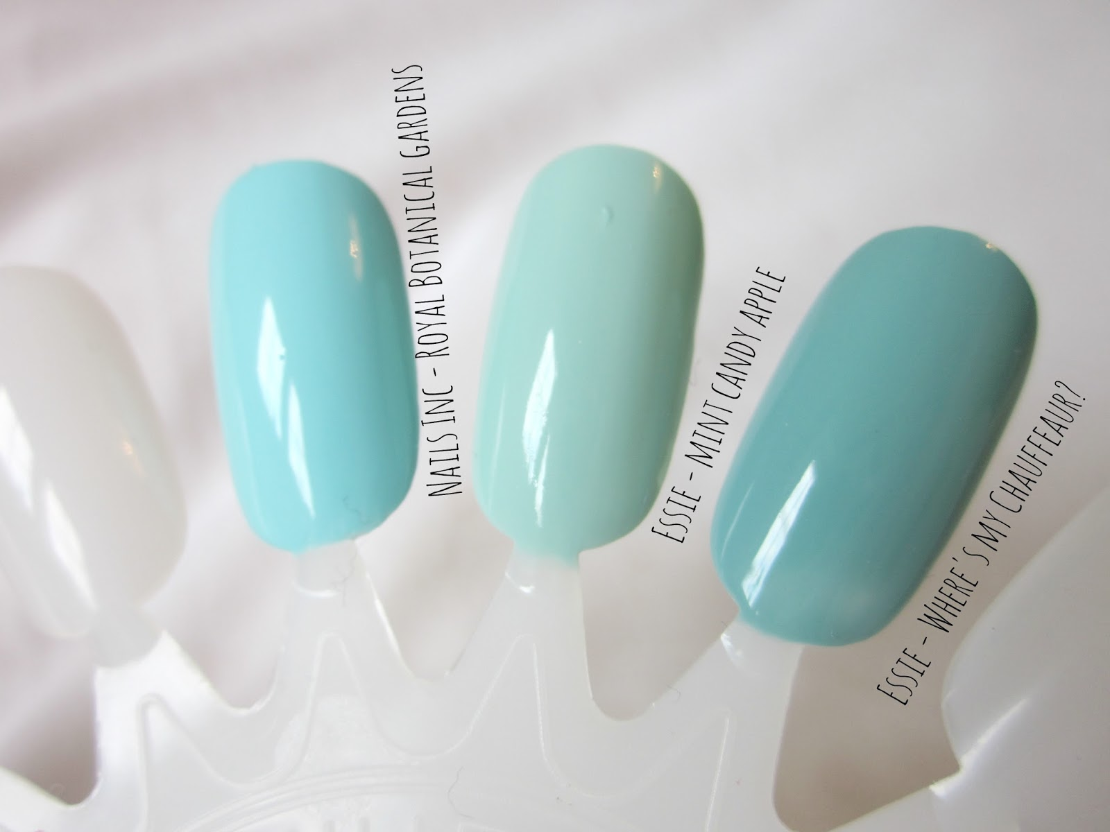 nails inc royal botanical gardens essie mint candy apple where's my chauffeur swatches