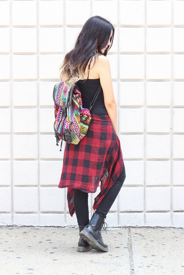 ethnic print printed backpack red plaid flannel shirt around the waist combat boots