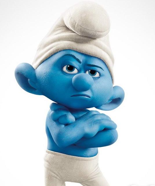 Desenho Smurf zangado colorido