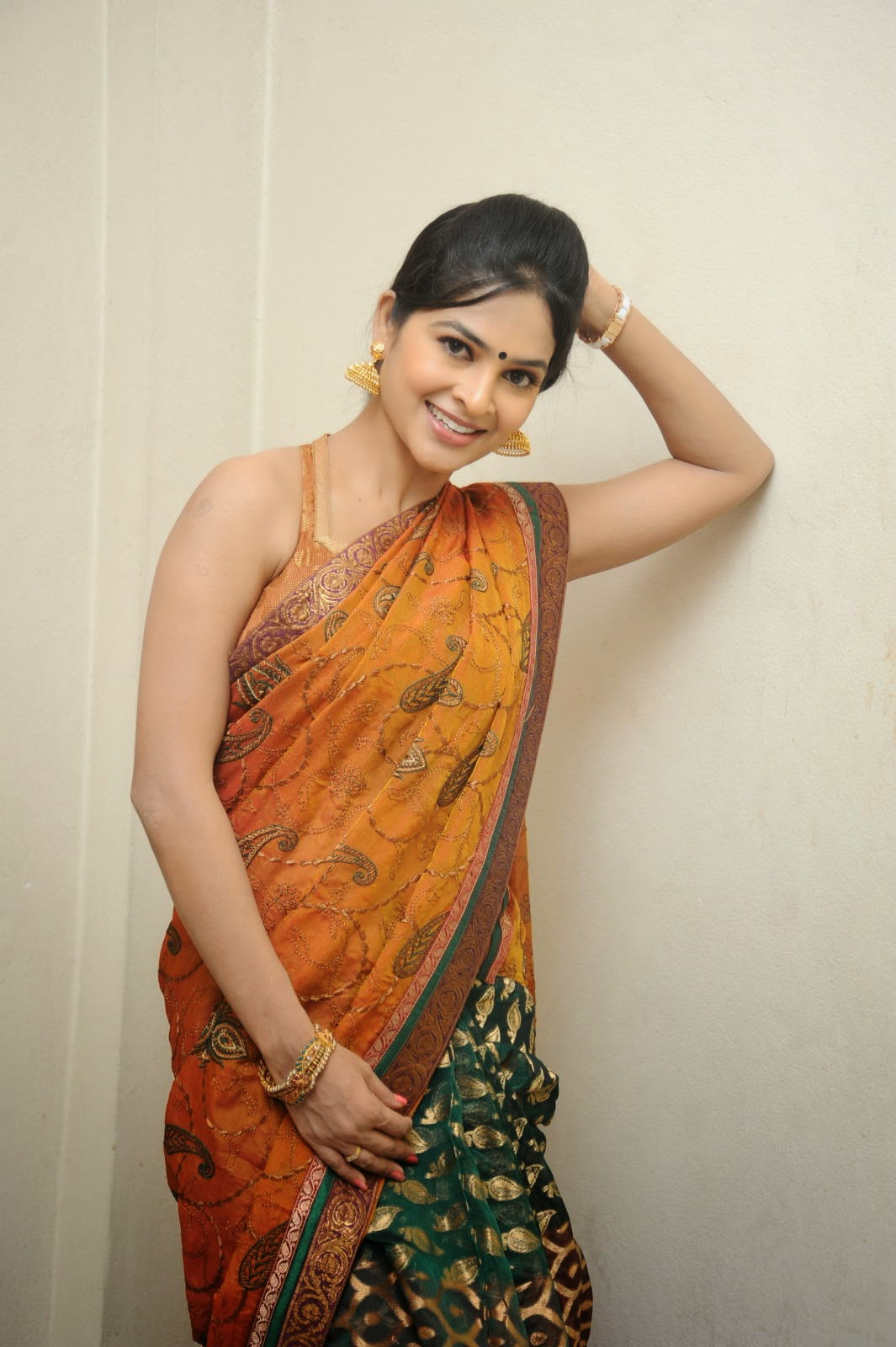 Madhumitha sizzling pics in saree-HQ-Photo-18