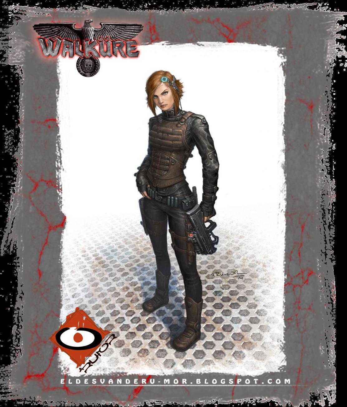 ilustración de personaje para el RPG WALKURE (agente, espía especial, viuda negra) hecha por ªRU-MOR. sci-fi