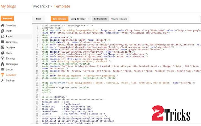 Edit Code Blogger