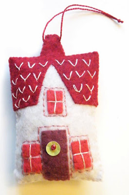 Felt christmas decoration using hand embroidery