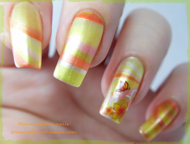 Nail Art Water marble d' Automne6