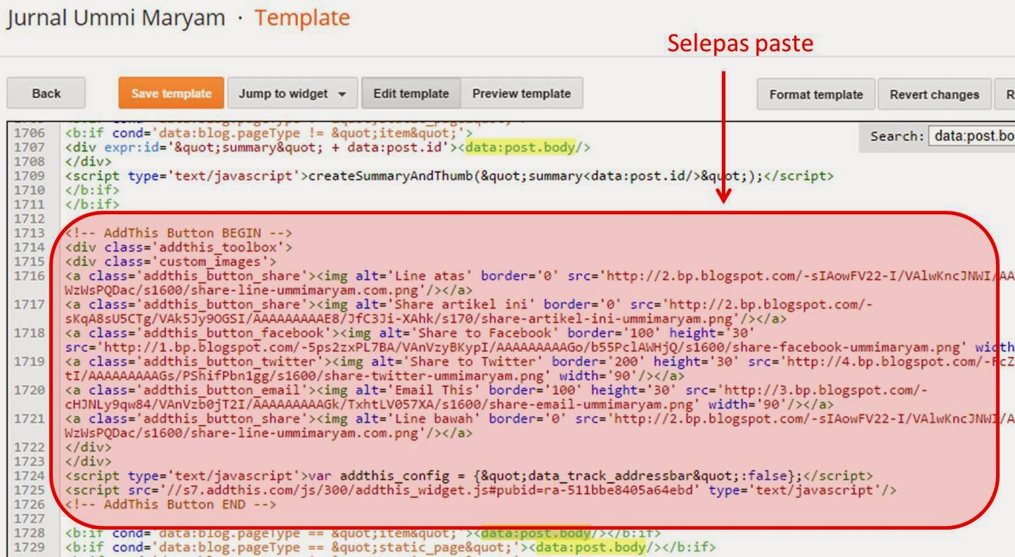 add-share-button-search-pastikan macam ni selepas paste