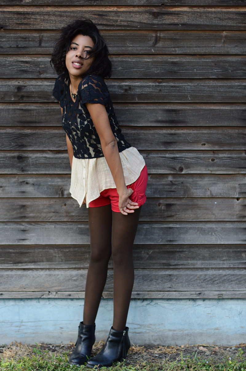 Fashion and Indie Culture Blogger Anais Alexandre of Down to Stars in a Mossimo lace top over a Forever 21 cream top and red shorts with marc fisher boots