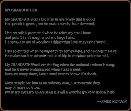 My Grandfather Poem With The Meaning My Grand Parent Is A Big Man In Every Way That Is Good On Grandfather's Day