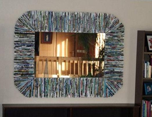 C mo hacer marco para espejo con revistas usadas - Hacer marco espejo ...