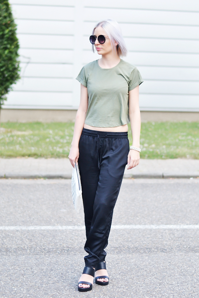 Outfit, ootd, crop top, asos, khaki green, round sunglasses, primark, silk trousers, baggy, black, stylish, new look, sandals, zara clutch, marc by marc jacobs bracelet, street style, summer, 2015