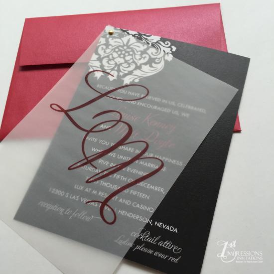 1st impressions invitations vellum wedding invitations labels 1st invite black and white invitations red and black damask wedding invitations vellum invitations filmwisefo