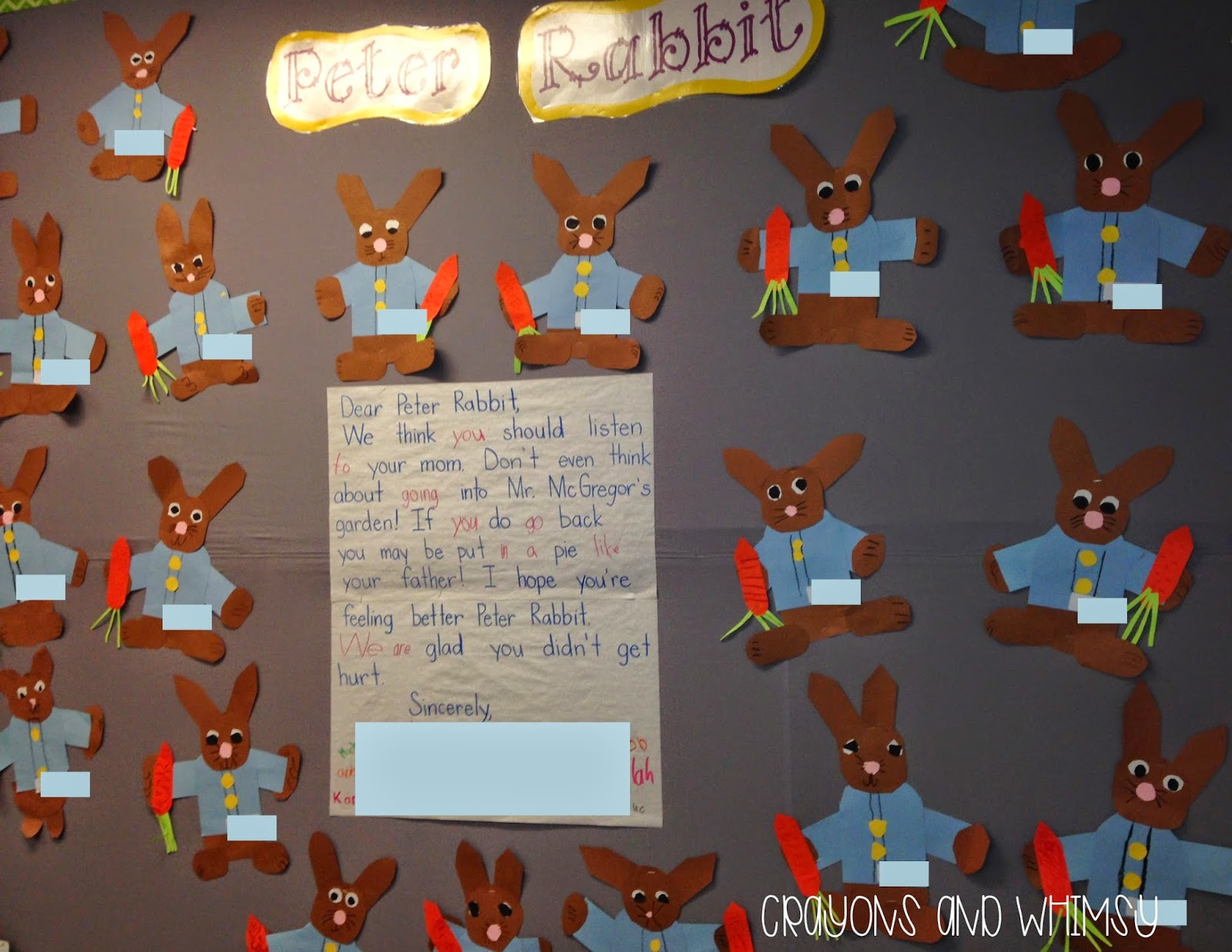 Peter Rabbit craft TLC shared writing