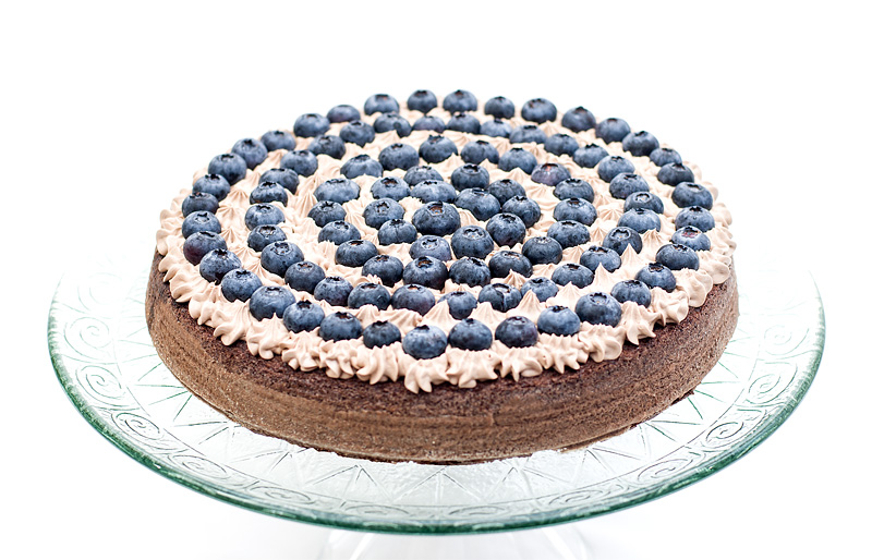 Chocolate blueberry cake whole close