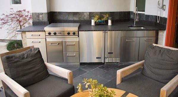 Modern Kitchen Outdoor Black And Gray Some Additional Fresh Plants