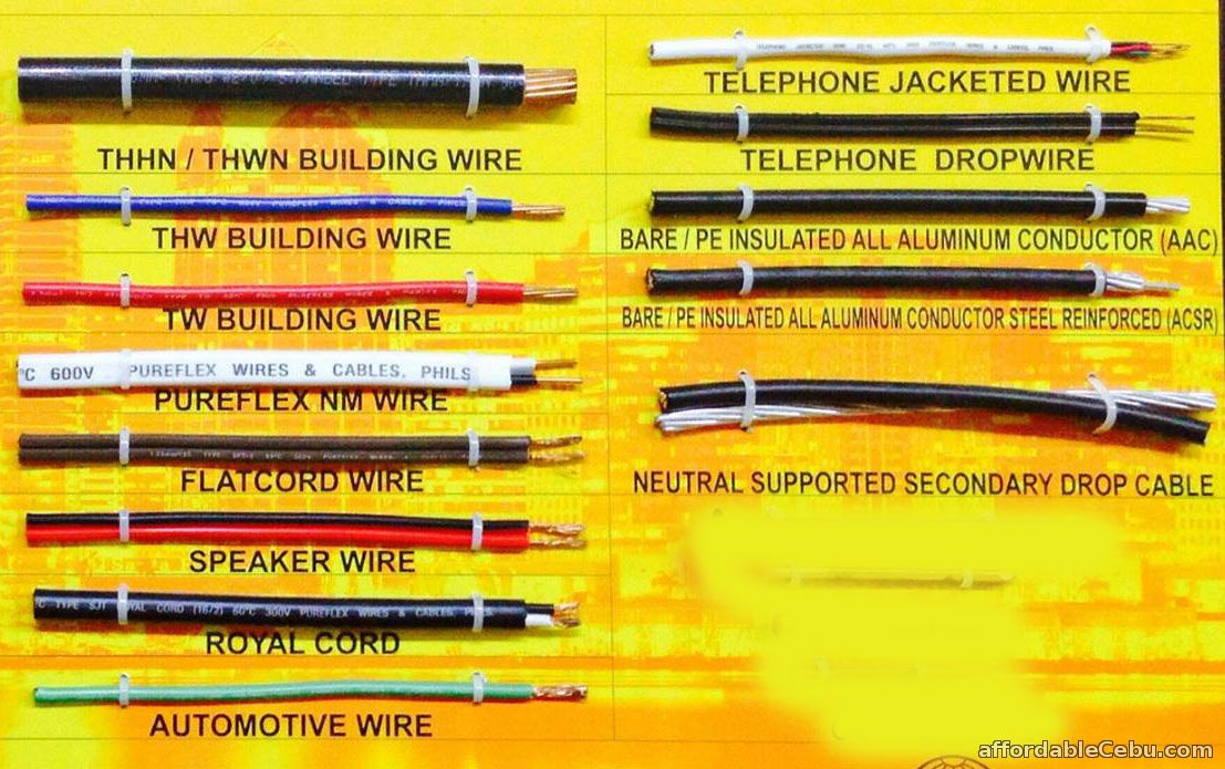 Types Of Electrical Wire : Common types of wires and cables electrical engineering