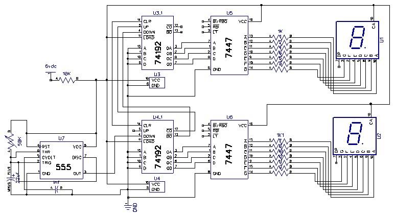 rangkaian counter down  up otomatis 7 segment display