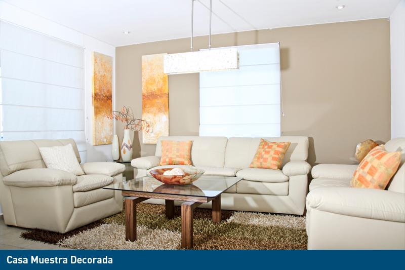 sala de casa muestra decorada de fraccionamiento residencial en venta