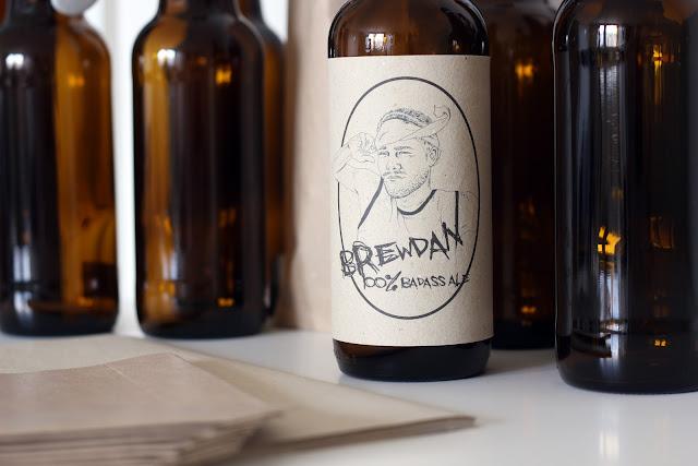 patentkork, ølflaske, DIY, papir, etikett, gavetips, mann