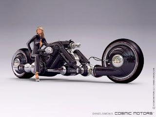 Moto futurista con una mujer rubia sentada en ella