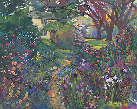 Impressionist Painting Of An English Garden With Roses Irises Hollyhocks And Delphinium O Illustration Art A Shady Path Leading To Country