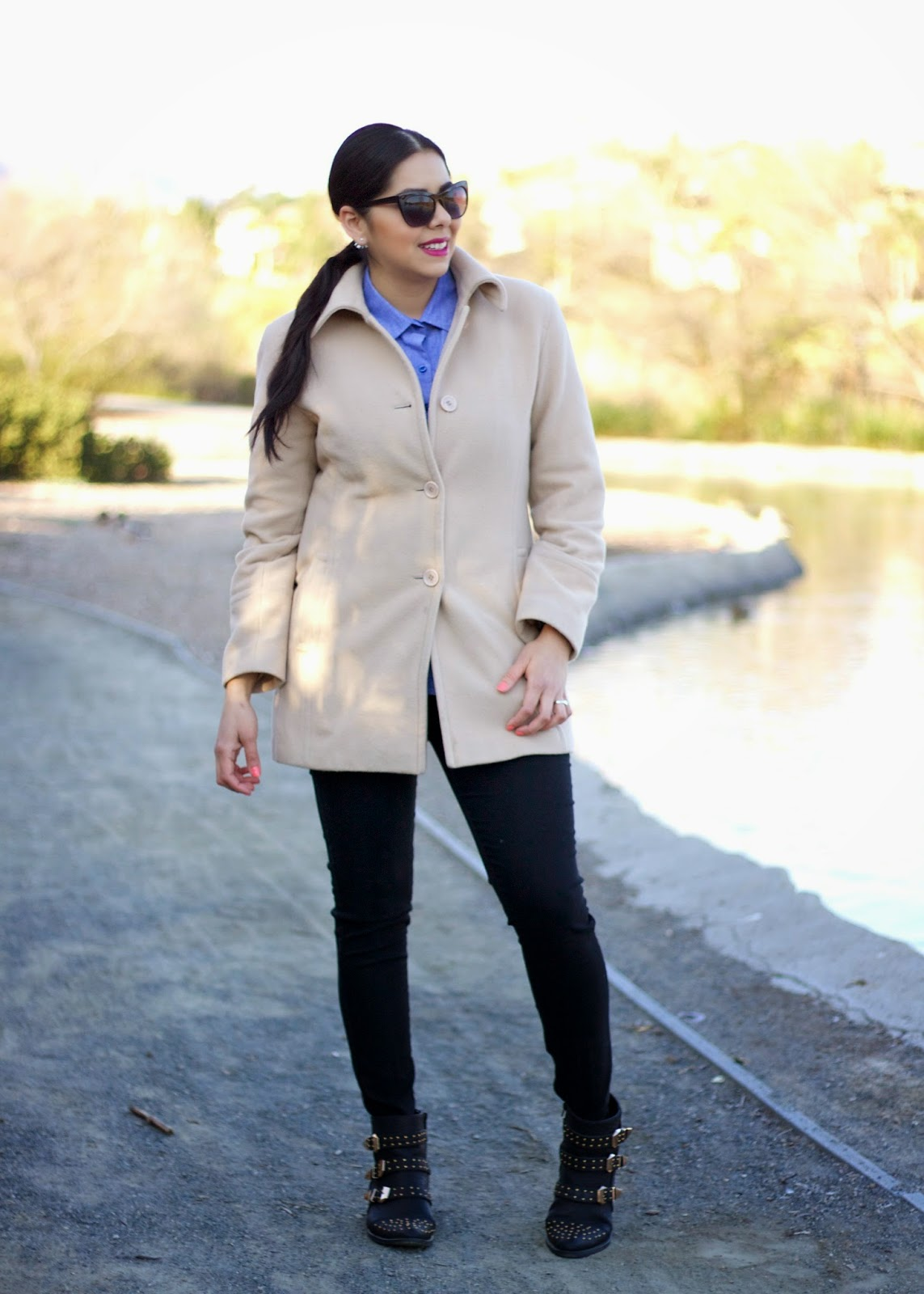 latina bloggers, chambray button up, winter outfit 2015, comfortable and sleek outfit, forever 21 blogger