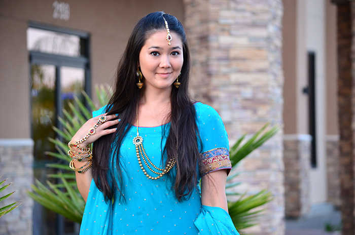 turquoise indian wedding outfit