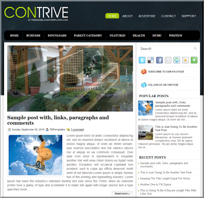 contrive free template for blogger
