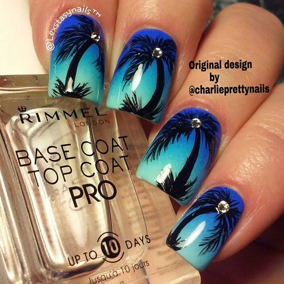 16 Super Cool Ombre Gradient Nail Art Tutorials: Awesome Tropical Nail Art Designs!
