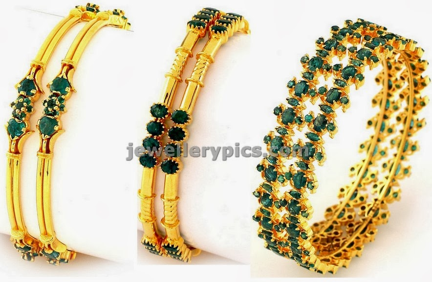 emerald gold light weight bangles