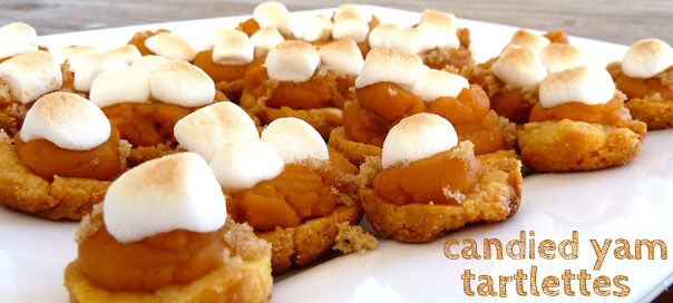 candied yam tartlettes, Thanksgiving