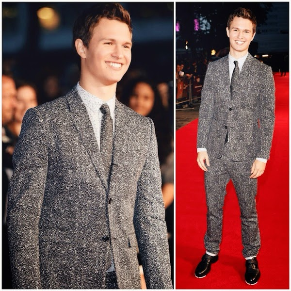 Ansel Elgort wears Dior Homme Spring 2015 graphite print suit to Men Women and Children London Premiere 9th October 2014