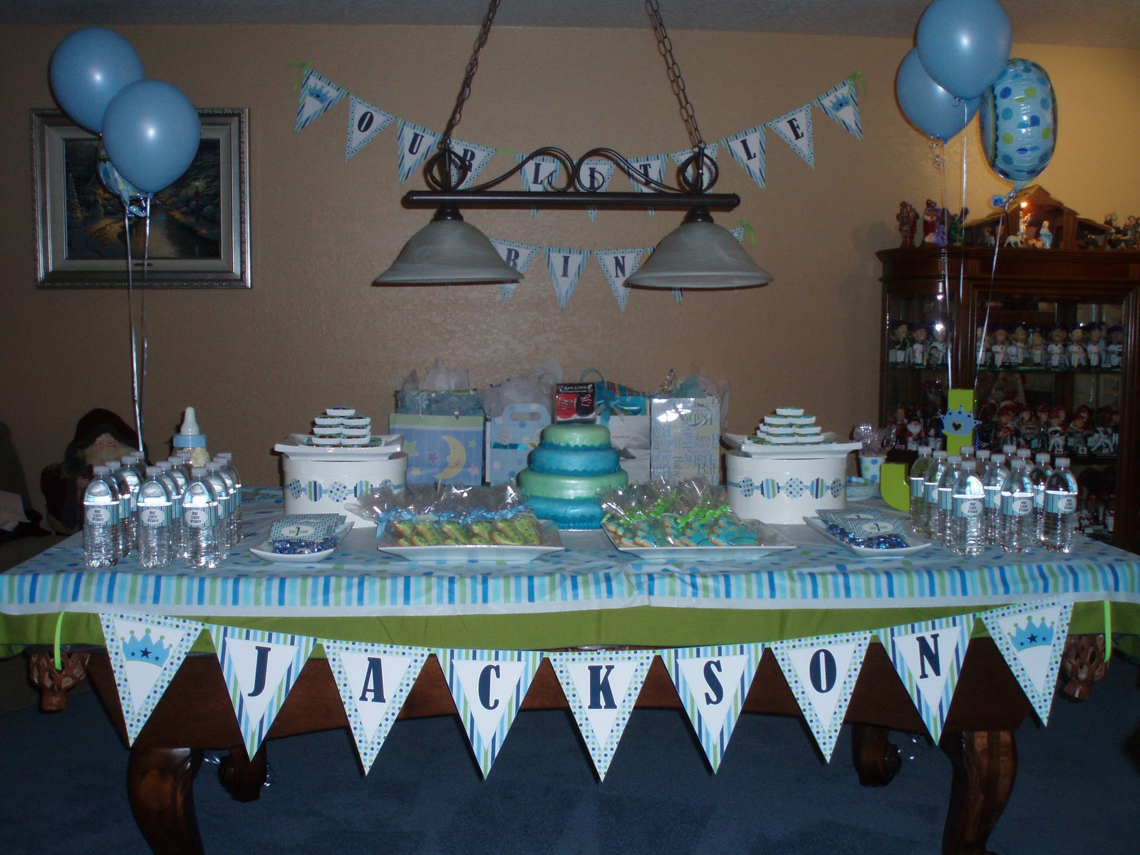 together a dessert table for a baby shower for baby jackson what fun