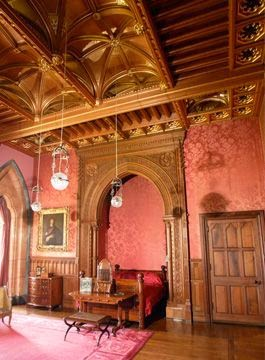 Red silk damask wallpaper, Lady Bute room, Mount Stuart House, Isle of Bute