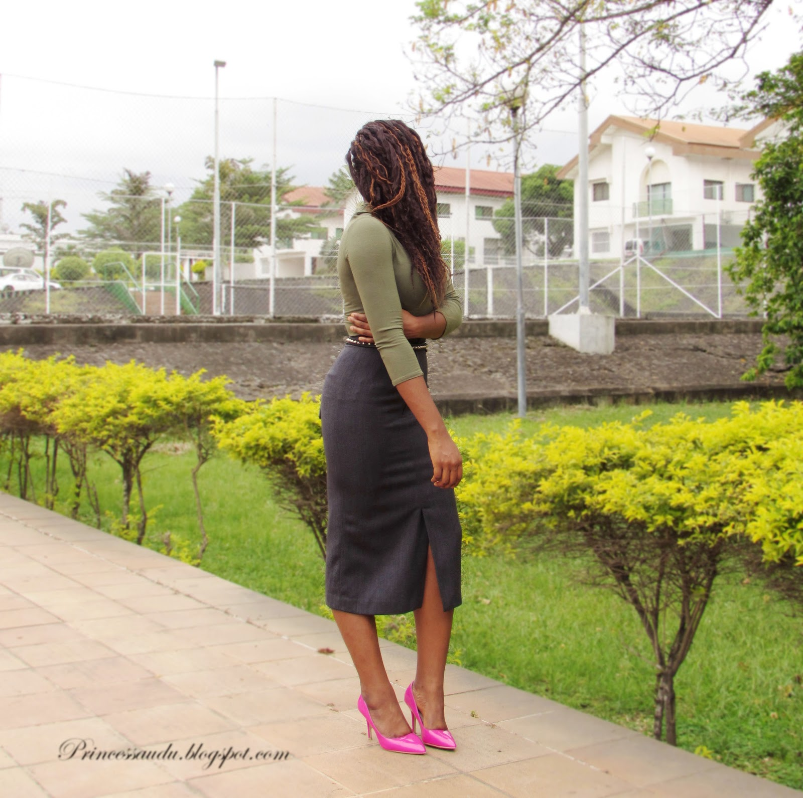 turtle neck, army green, grey midi-skirt, pop of colour