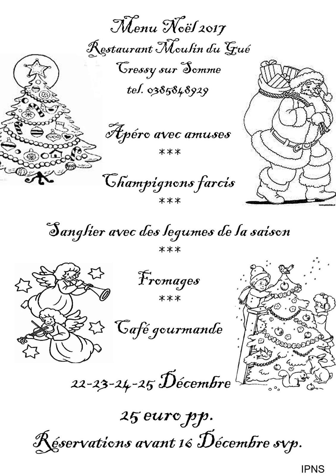 Menu Noël 2017 au Moulin du Gué