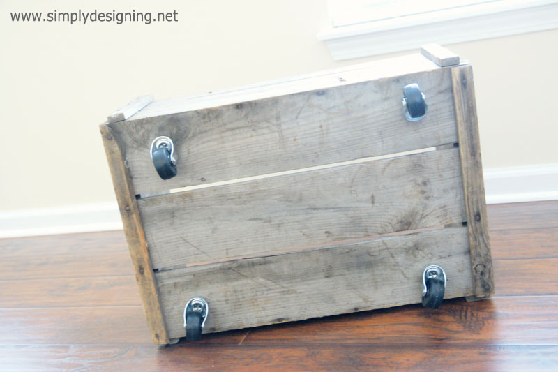 Add Wheels to a Vintage Crate to make Rolling Storage | learn how to make a vintage crate into a rolling home storage option - simply | #diy #crate #storage