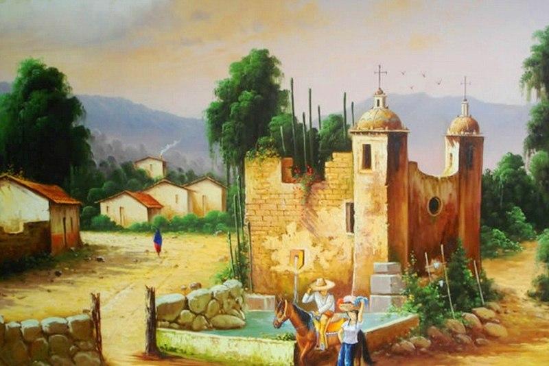 Im genes arte pinturas cuadros al leo paisajes for Cuadros mexicanos rusticos