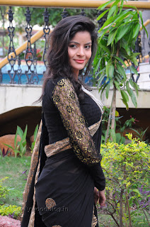 Gehana Vasista in black saree Pictures 002.jpg